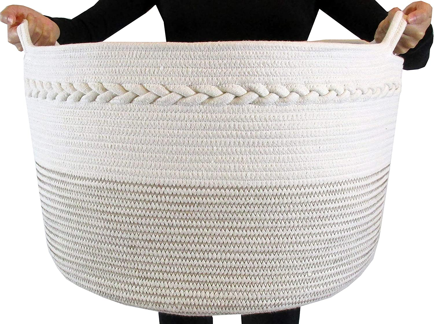 "Cotton Rope Storage Basket - Decorative Woven Basket Great for Large Laundry Basket, Blanket Basket, Laundry Hamper, Kids & Babies Toy Basket, Toy Bin, XXL 20""X 13.5"""