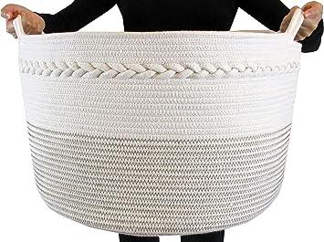 "Rope Basket|Woven Basket|Storage Basket|Decorative Hampers for Laundry| Large Cotton Rope Storage Baskets Great as Laundry Basket Laundry Hamper Toy Storage Toy Bin,Blanket Basket,XXL20/""X13.5/"""