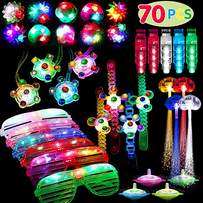 70 Pack Light Up Toys Party Favors Glow in the Dark Party Supplies for Boys Girls Kids Adults with 40 Finger Lights 8 Jelly Rings 6 Flashing Glasses 4 Hand Spin Bracelets 4 Hand Spin Necklaces 4 Fiber Optic Hair Lights and 4 Spinning Top