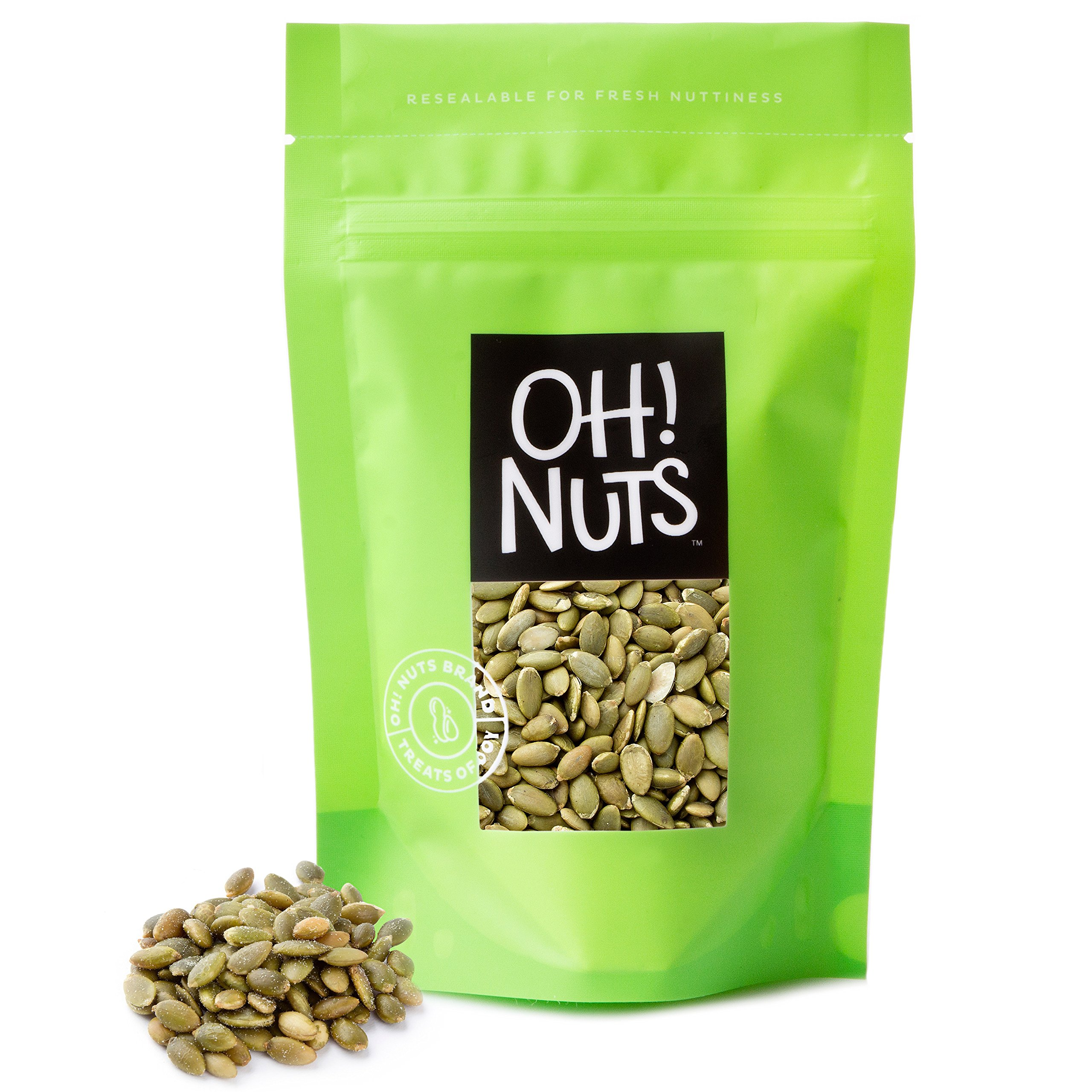 Pumpkin Seeds Roasted Unsalted, Pepitas Roasted Unsalted Great for Healthy Snacking or Salad Toppings No Shell 2 Pounds in a Resealable Bag - Oh! Nuts by Oh! Nuts