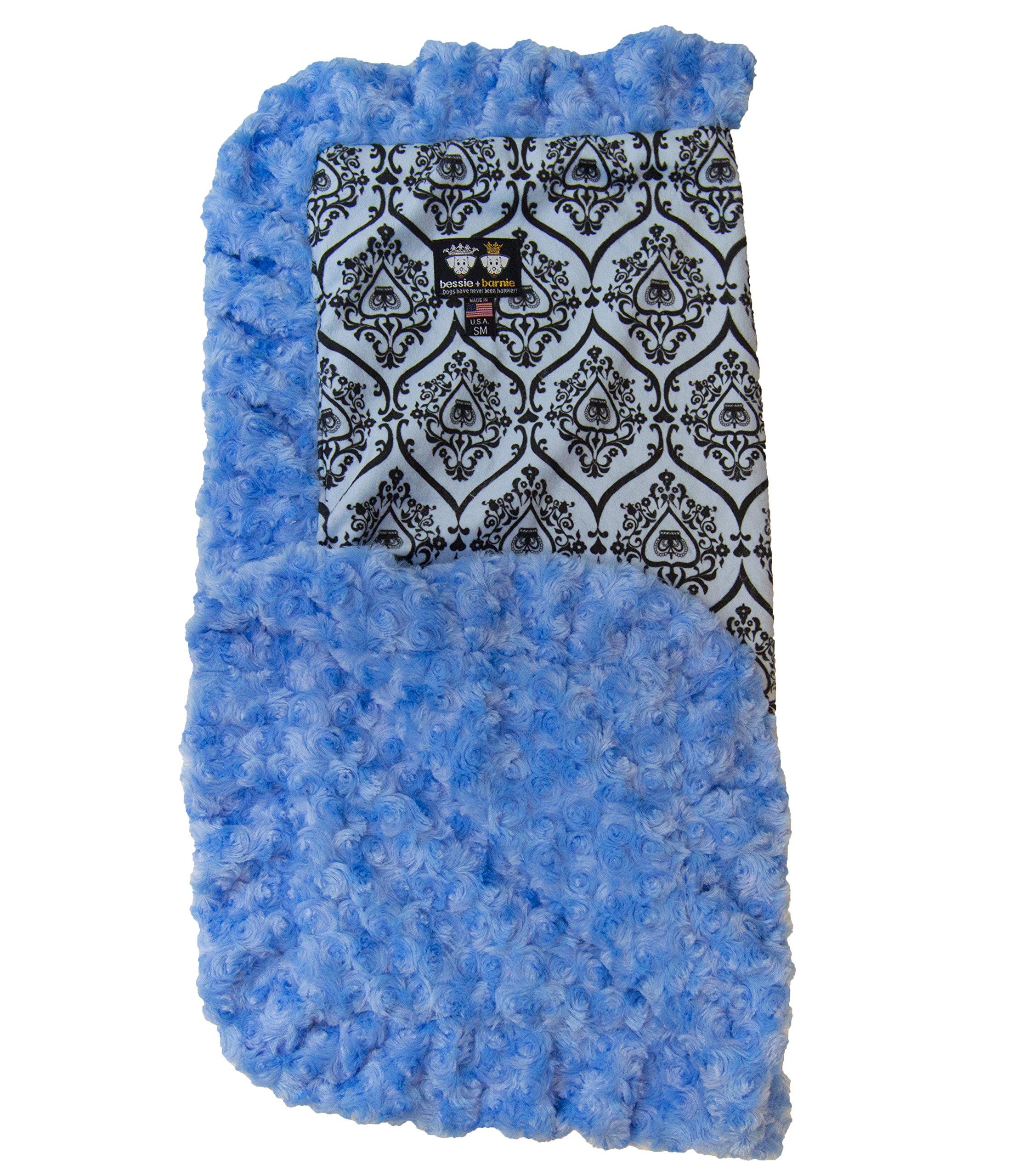 BESSIE AND BARNIE Blue Sky/Versailles Blue Luxury Ultra Plush Faux Fur Pet, Dog, Cat, Puppy Super Soft Reversible Blanket (Multiple Sizes)