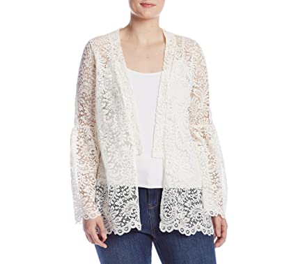 758294621 Skylar & Jade by Taylor & Sage Plus Size Lace Bell Sleeve Cardigan - White -