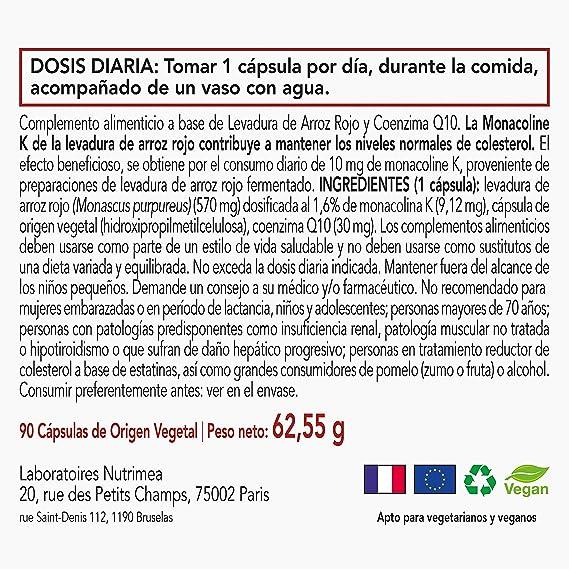 Levadura Roja de Arroz Coenzima Q10 Baja Tu Colesterol Monacolina K CoQ10 Controla los niveles de colesterol sanguíneo Arroz Rojo Puro Monascus ...