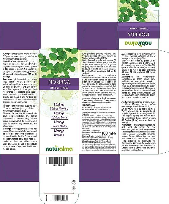 Moringa (Moringa oleifera o Moringa aptera) hojas Tintura Madre sin alcohol Naturalma | Extracto líquido gotas 100 ml | Complemento alimenticio | ...