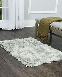 Home Dynamix Nicole Miller Aspen Sheepskin Faux Fur Shag Accent Area Rug 30
