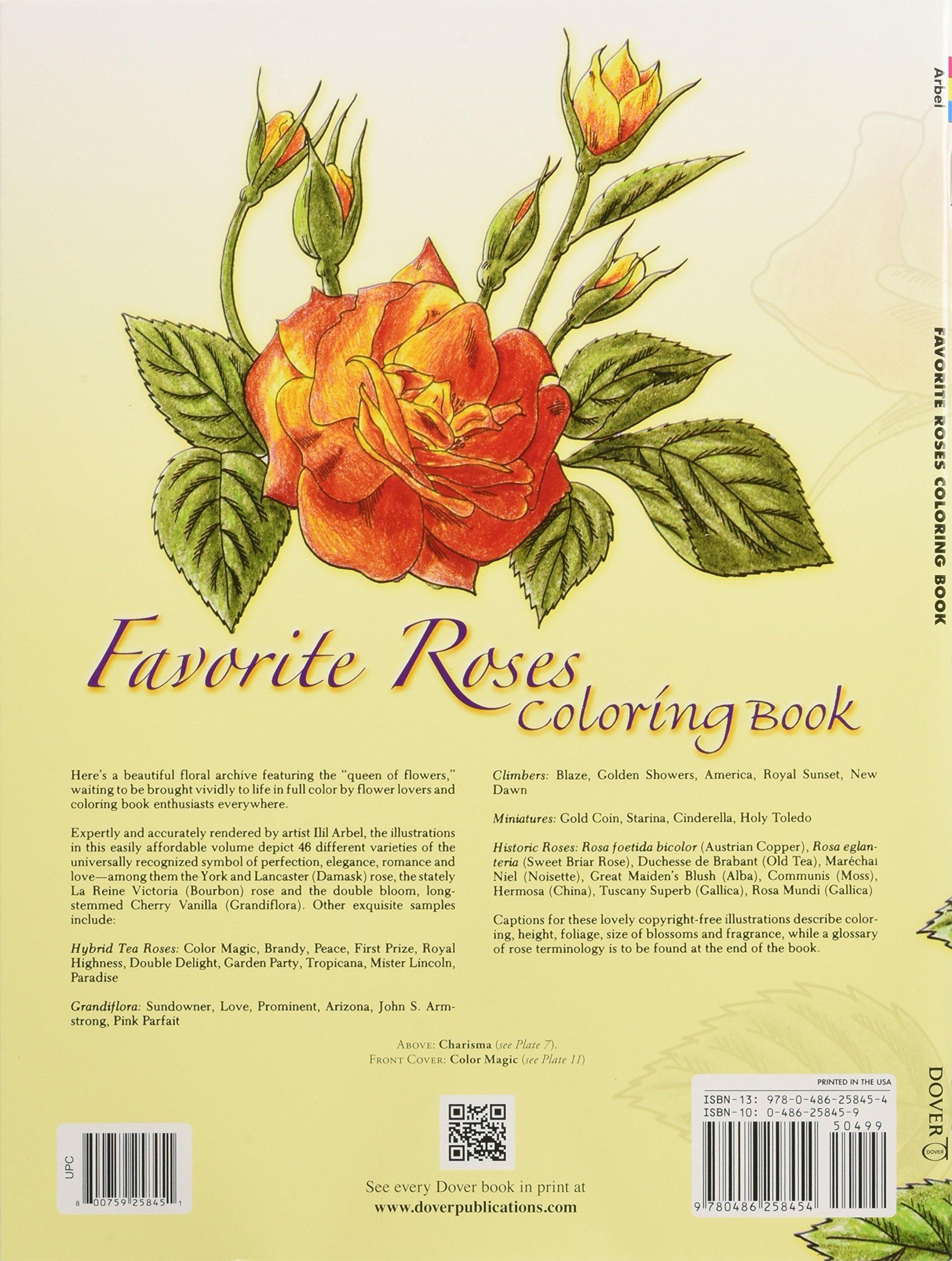 Favorite Roses Coloring Book Dover Nature Ilil Arbel Books Flowers 9780486258454 Amazon