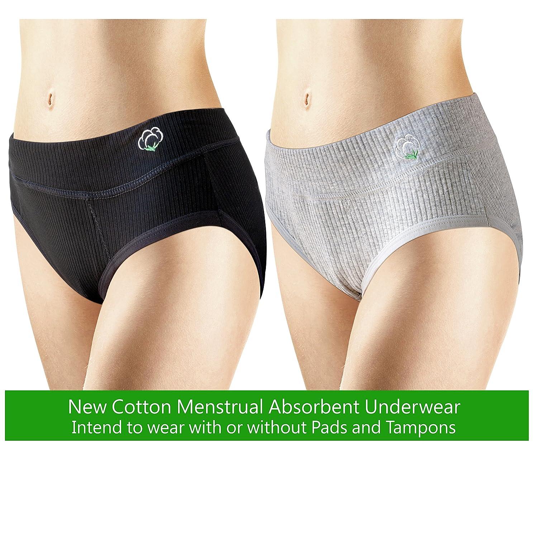 Amazon.com: New 2 Pack ~ Tampon Free & Pee-Proof ~ Cotton ~ Menstrual  Panties, Absorbent Panties: Clothing