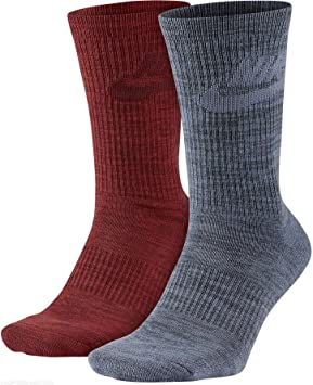 Nike Hombre Sportswear Advance tripulación Calcetines – 2 Pares - SX5402, Dark Heather Red (