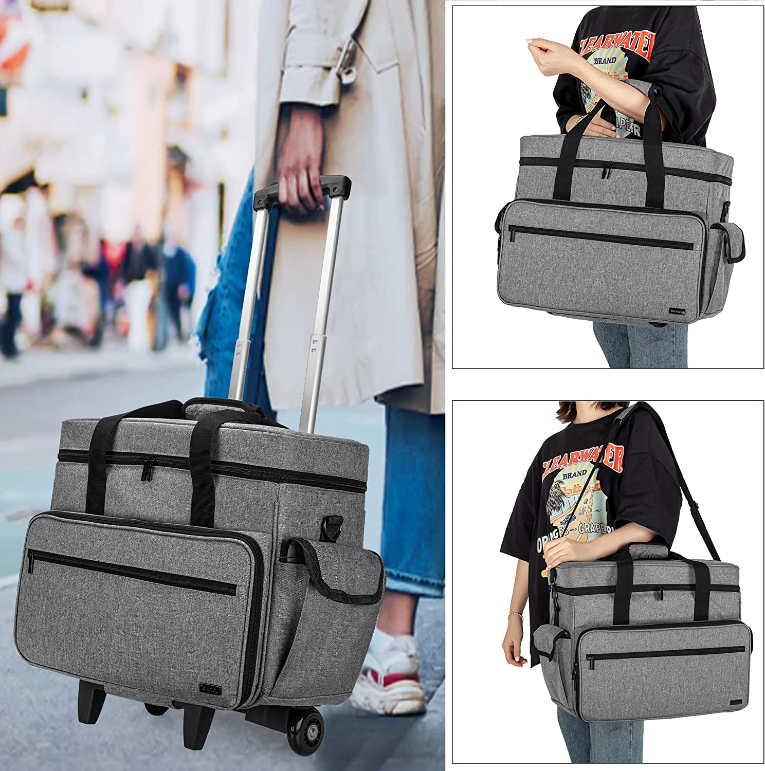Black Compatible with Singer Brother and Most Standard Machines and Accessories Universal Sewing Machine Carrying Case with Shoulder Strap and Bottom Studs Teamoy Sewing Machine Tote