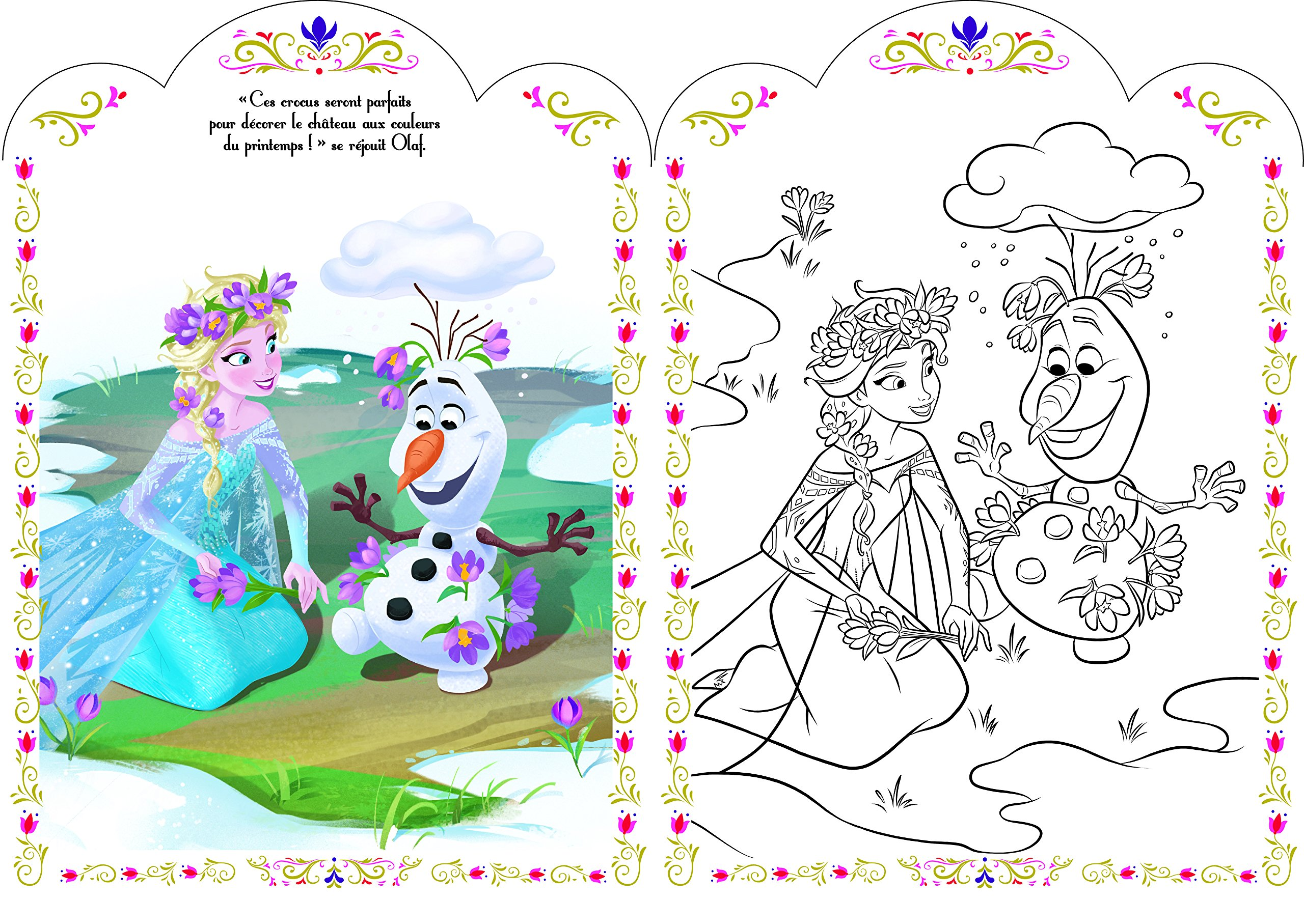 Coloriage Reine Des Neiges Chateau.Disney La Reine Des Neiges Coloriage Avec Stickers Amazon Fr