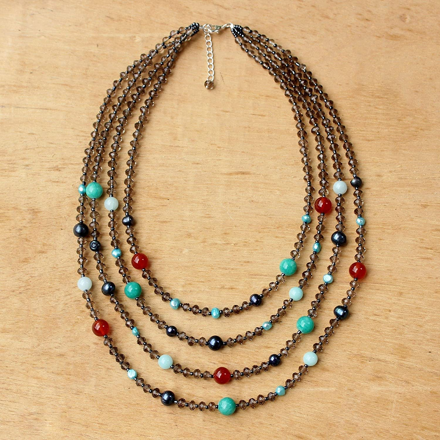 NOVICA Freshwater Cultured Pearl with Carnelian and Calcite Stone Necklace, Season Glamour