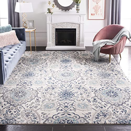Safavieh Madison Collection MAD600C Bohemian Chic Glam Paisley Area Rug, 4 x 6 , Cream Light Grey