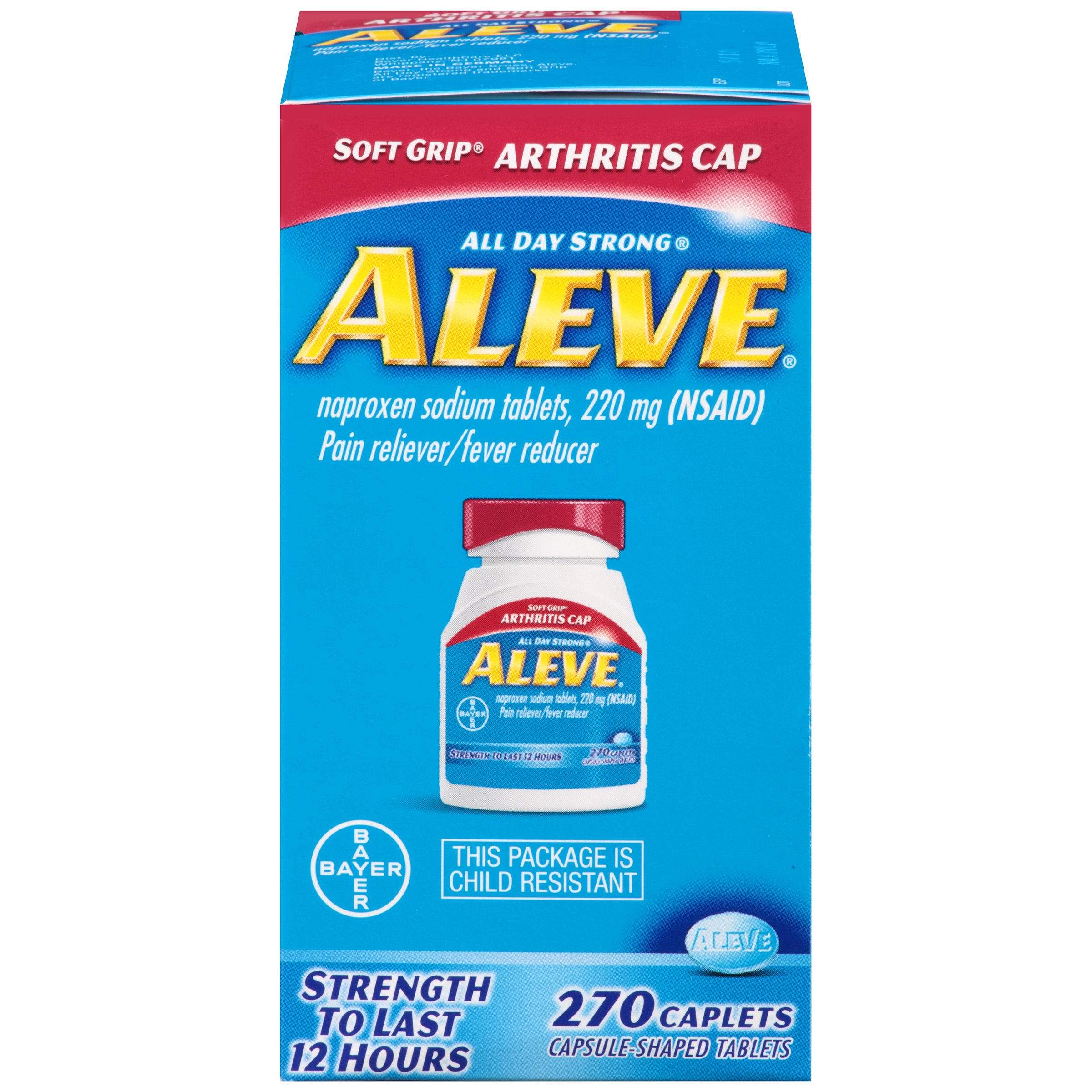 Aleve Soft Grip  Arthritis Cap Caplets, Naproxen Sodium 220 mg (NSAID), Pain Reliever/Fever Reducer, #1 Orthopedic Surgeon Recommended, 270 Count by Aleve