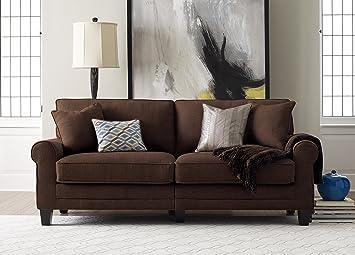 Amazoncom Serta RTA Copenhagen Collection 73 Sofa in Rye Brown