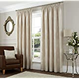 """DREAMS AND DRAPES One pair of Sandhurst Pencil Pleat (3"""" header) Curtains in Natural, Size: 46x72 (117 x 183 cm) width x drop"""