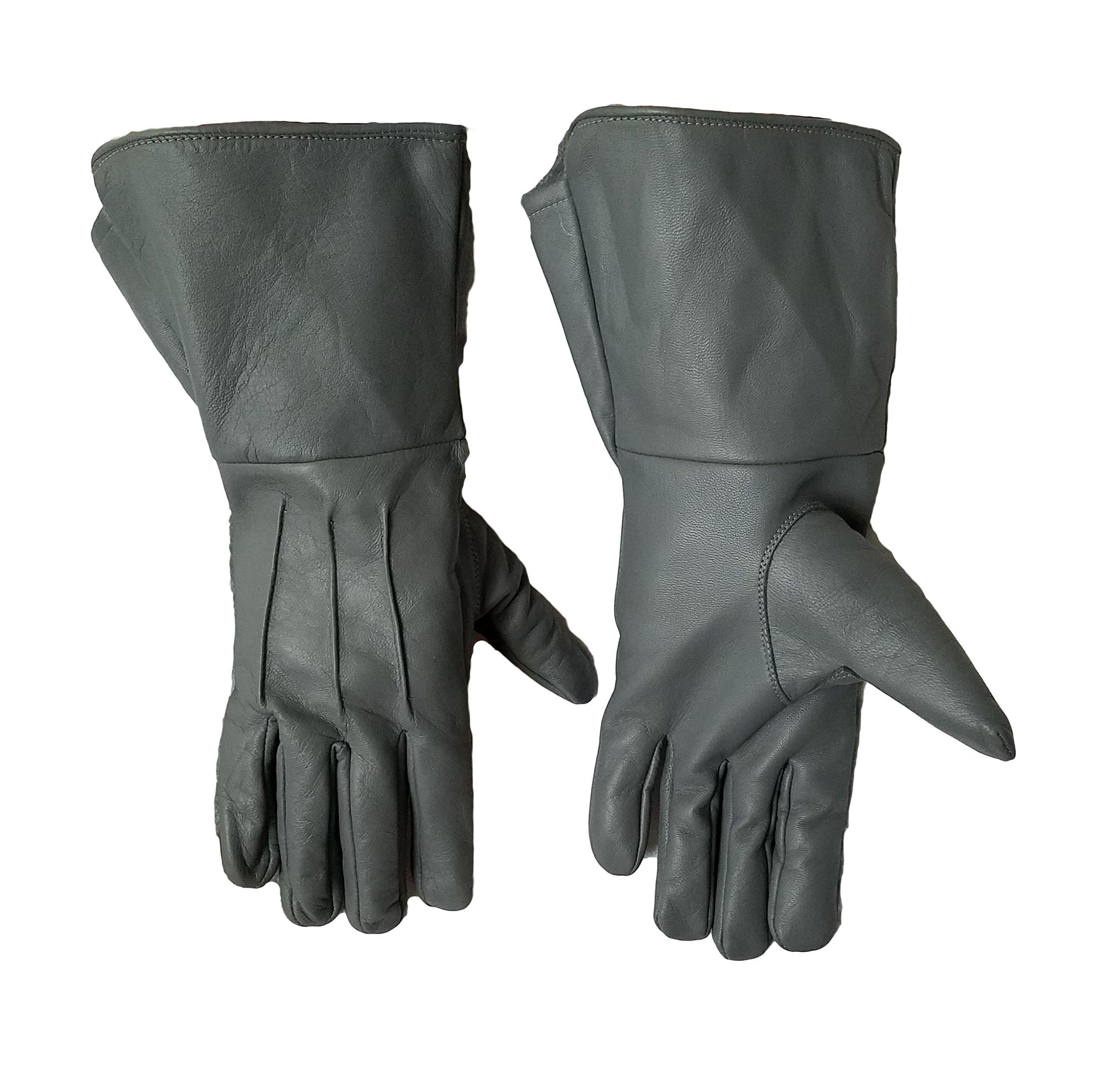 Grey Leather Medieval Renaissance gauntlet cosplay gloves (Medium)