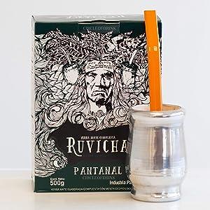 Circle of Drink - Ruvicha Pantanal Paraguayan Yerba Mate Tea – Enjoy Hot or Cold/Tereré - Gourmet Blend with Mint, Lemon Verbena - Super Fresh - 500g - 1.1 lbs (Lexa Cup w/Nativa Empower Kit)