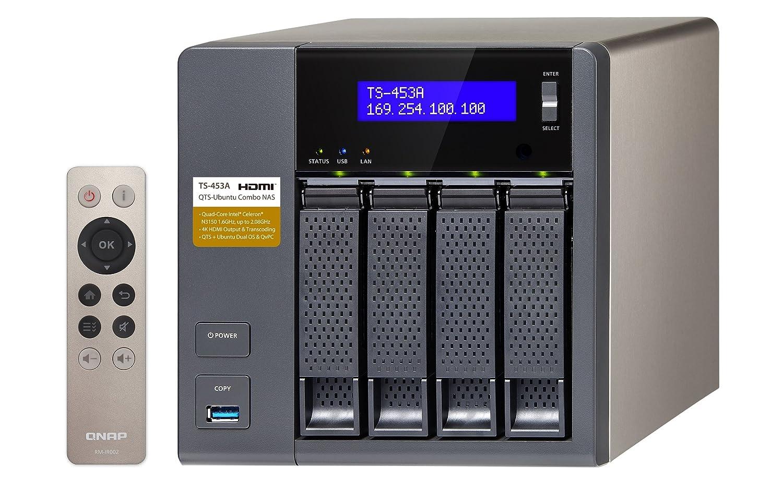 QNAP TS-453A Ethernet Torre Negro NAS - Unidad Raid (12 TB, Unidad de Disco Duro, Unidad de Disco Duro, SSD, Serial ATA III, 3000 GB, 2.5/3.5