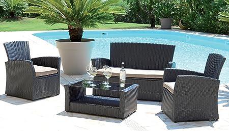 PEGANE Salon de jardin avec 4 places en aluminium coloris ...
