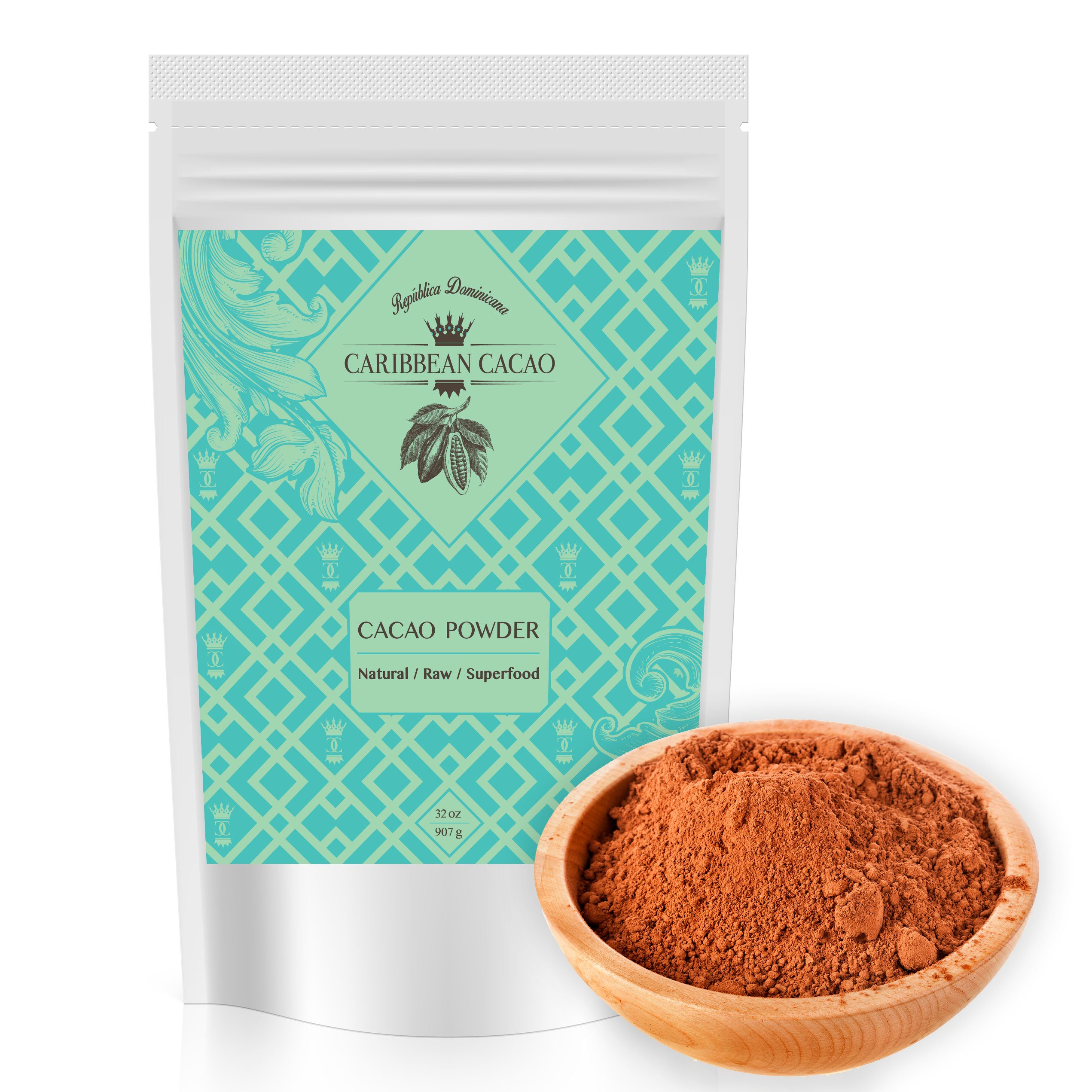 Caribbean Cacao Raw Cacao Powder - From our exclusive source in the Dominican Republic. Low Carb, Protein Packed, Unsweetened Superfood. Enhance Smoothies, Coffee, Hot Chocolate, & Healthy Treats 2 LB