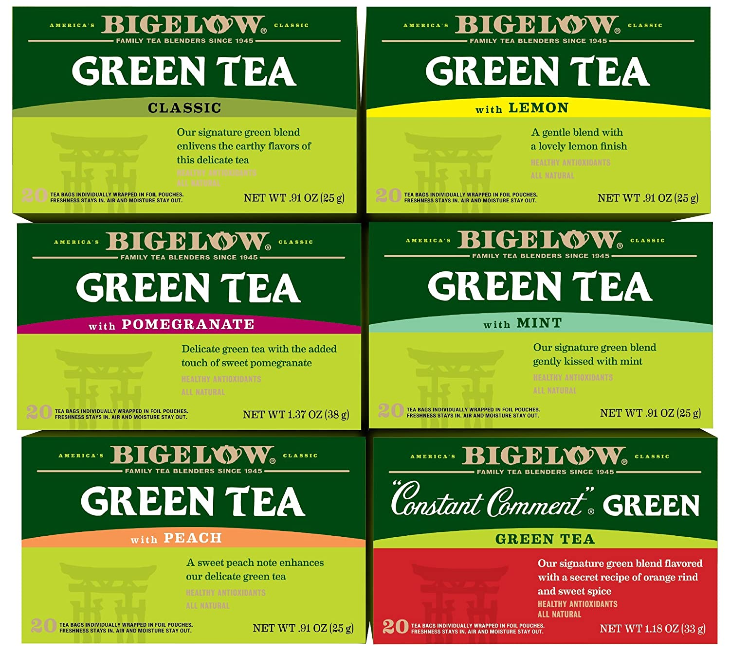 Bigelow Green Tea 6 Flavor Variety Pack, 20 Count Box (Pack of 6) Caffeinated Green Teas 120 Tea Bags Total