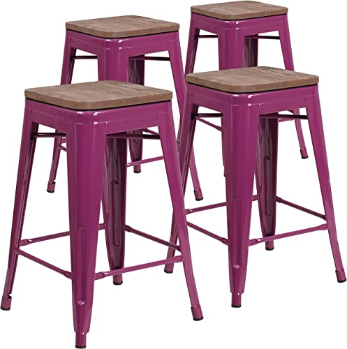 Flash Furniture 4 Pk. 24″ High Backless Purple Counter Height Stool