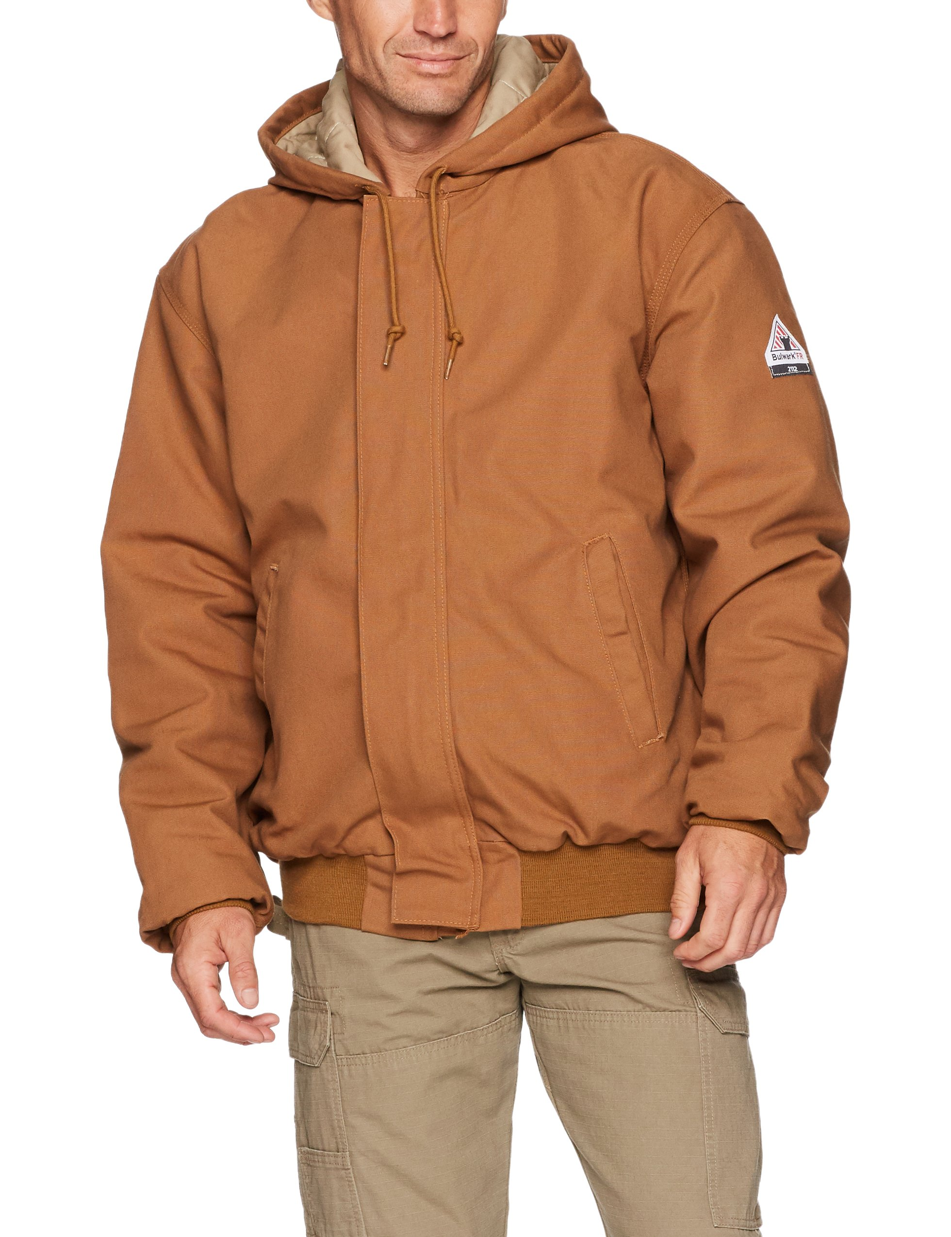 Bulwark Men's Hooded Jacket with Knit Trim, Brown Duck, Medium