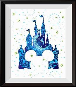 Uhomate Tinkerbell Peter Pan Princess Cinderella Castle Home Canvas Prints Wall Art Inspirational Quotes Wall Decor Living Room Bedroom Bathroom Artwork C092 (8X10)