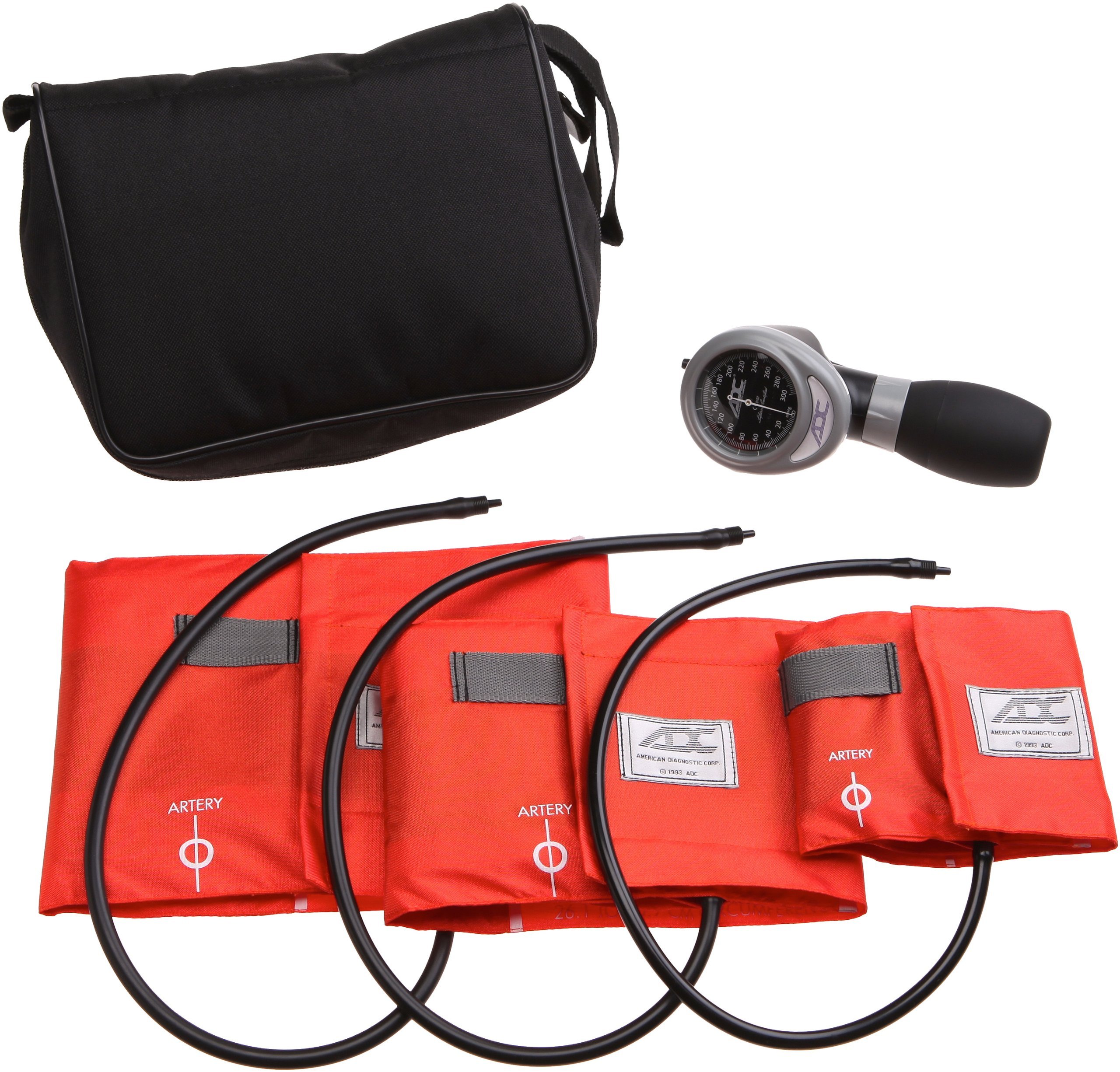 ADC Multikuf 731 3-Cuff EMT Kit with 804 Portable Palm Aneroid Sphygmomanometer, Small Adult, Adult and Large Adult Blood Pressure Cuffs (19-50 cm), Black Nylon Zipper Storage Case, Orange by ADC (Image #1)