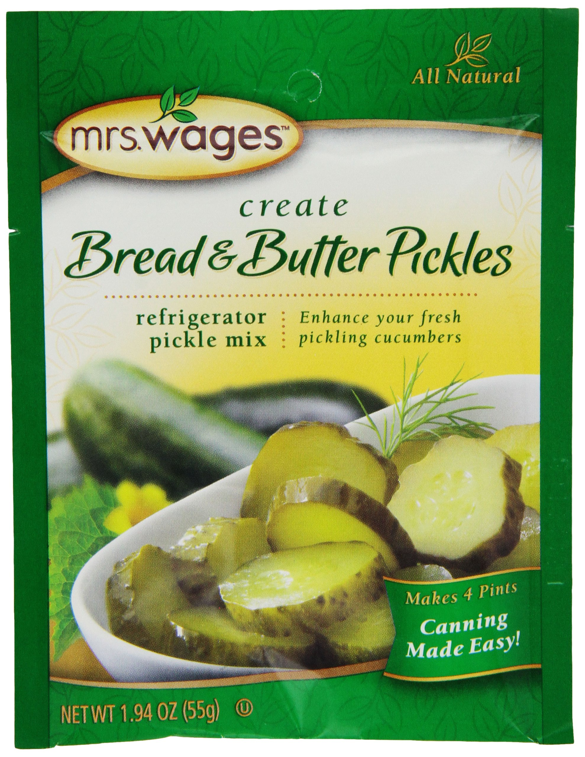 Mrs. Wages Bread and Butter Refrigerator Pickle Mix, 12-1.9-Ounce Pouches