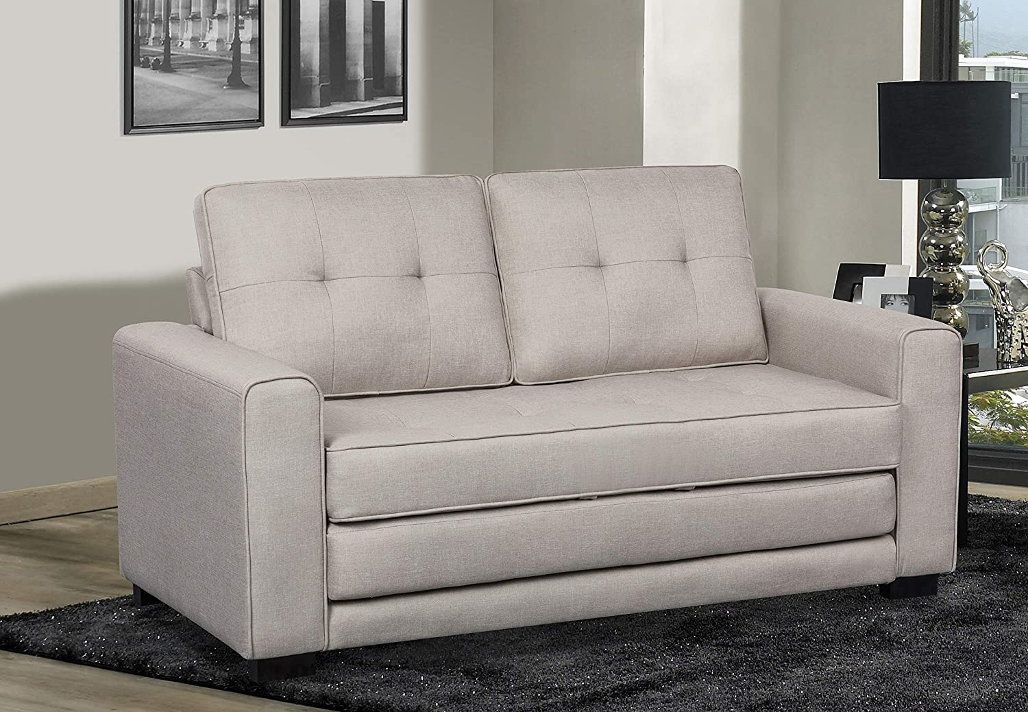 US Pride Furniture Daisy Modern Fabric Loveseat and Sofa Bed, Beige