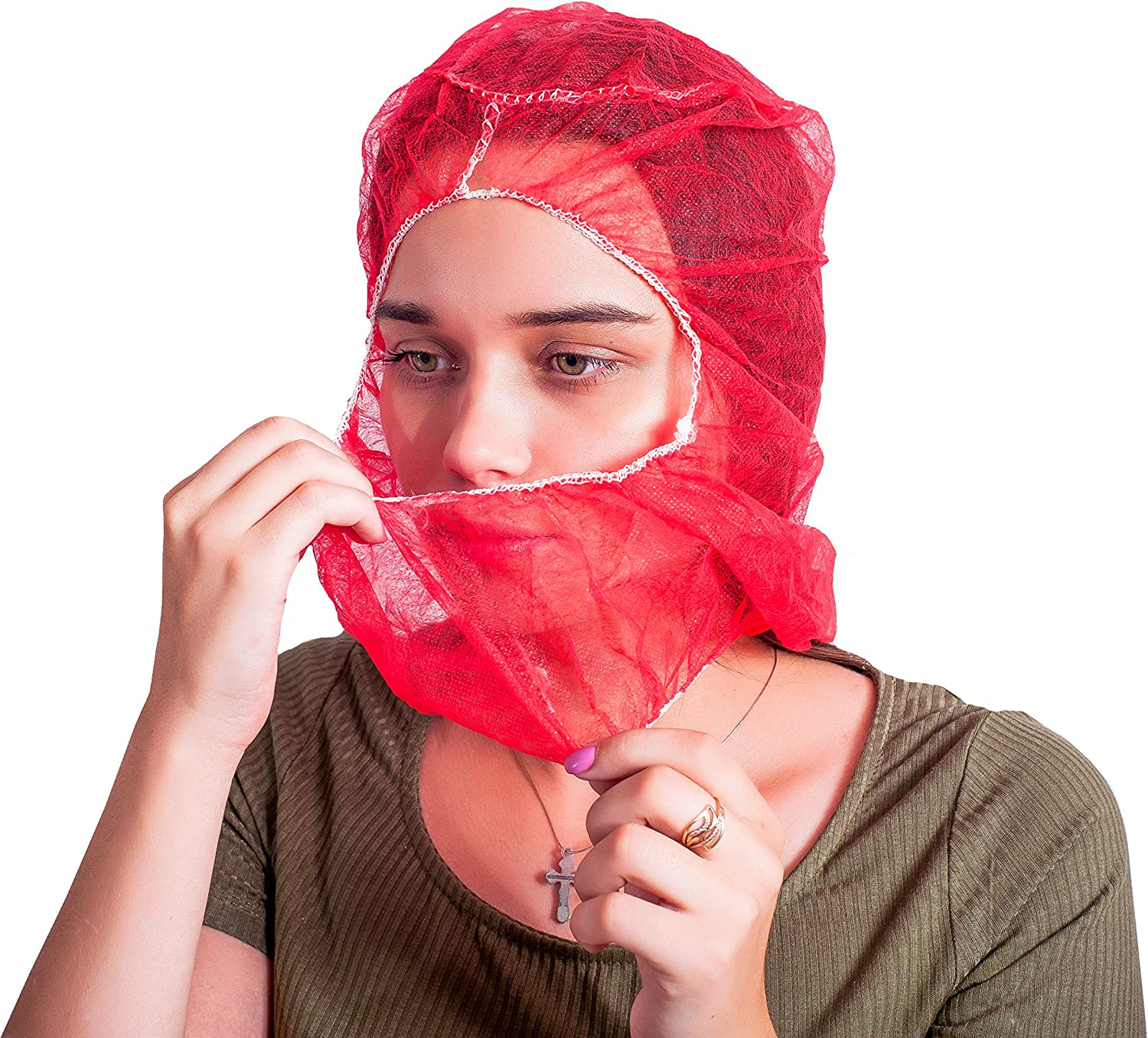 100 Pack Polypropylene Hooded Caps. Red Non Woven Hoods with Elastic Closure. Disposable Hoods. Unisex Hair Covers for Food Service, Industrial Use. Breathable, Lightweight. One Size.
