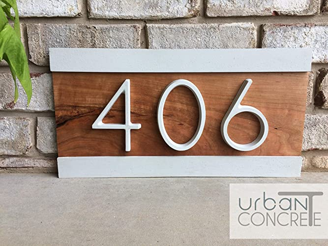 Modern House Numbers, House Numbers Sign, Modern,Wood And Concrete Address  Plaque, Custom House Address Sign, Realtor Closing Gift, ...