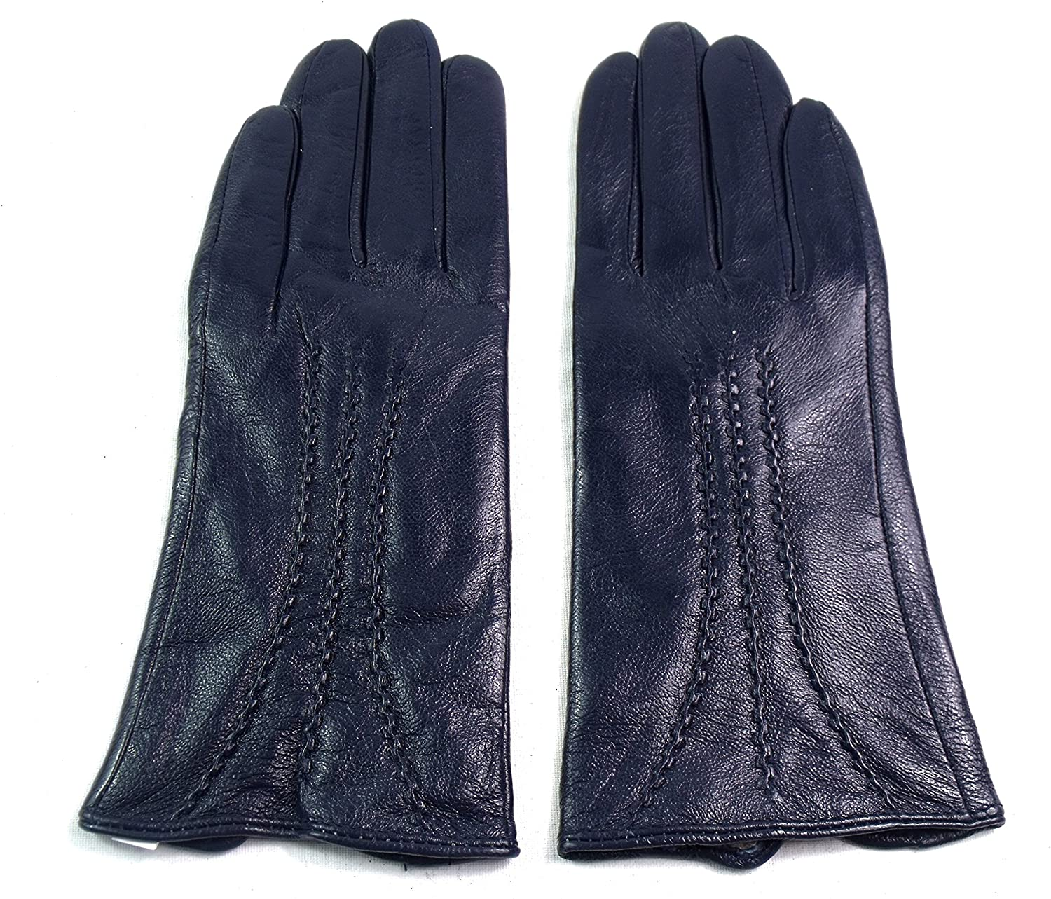 SMALL, NAVY Ladies Real Leather Stripe Detail Gloves