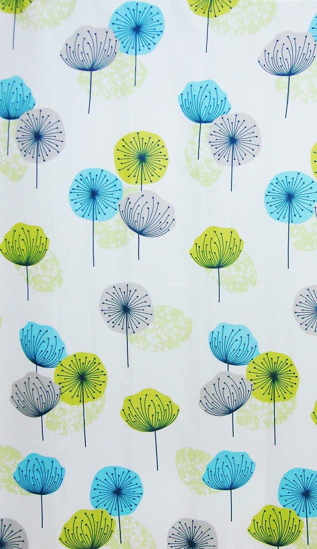 Fabric Bathroom Shower Curtain Dandelion Lime Green Blue 180 x 180 ...