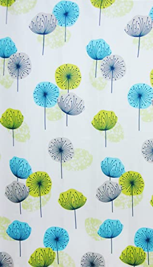 fabric bathroom shower curtain dandelion lime green blue 180 x 180 cm with hooks hallways