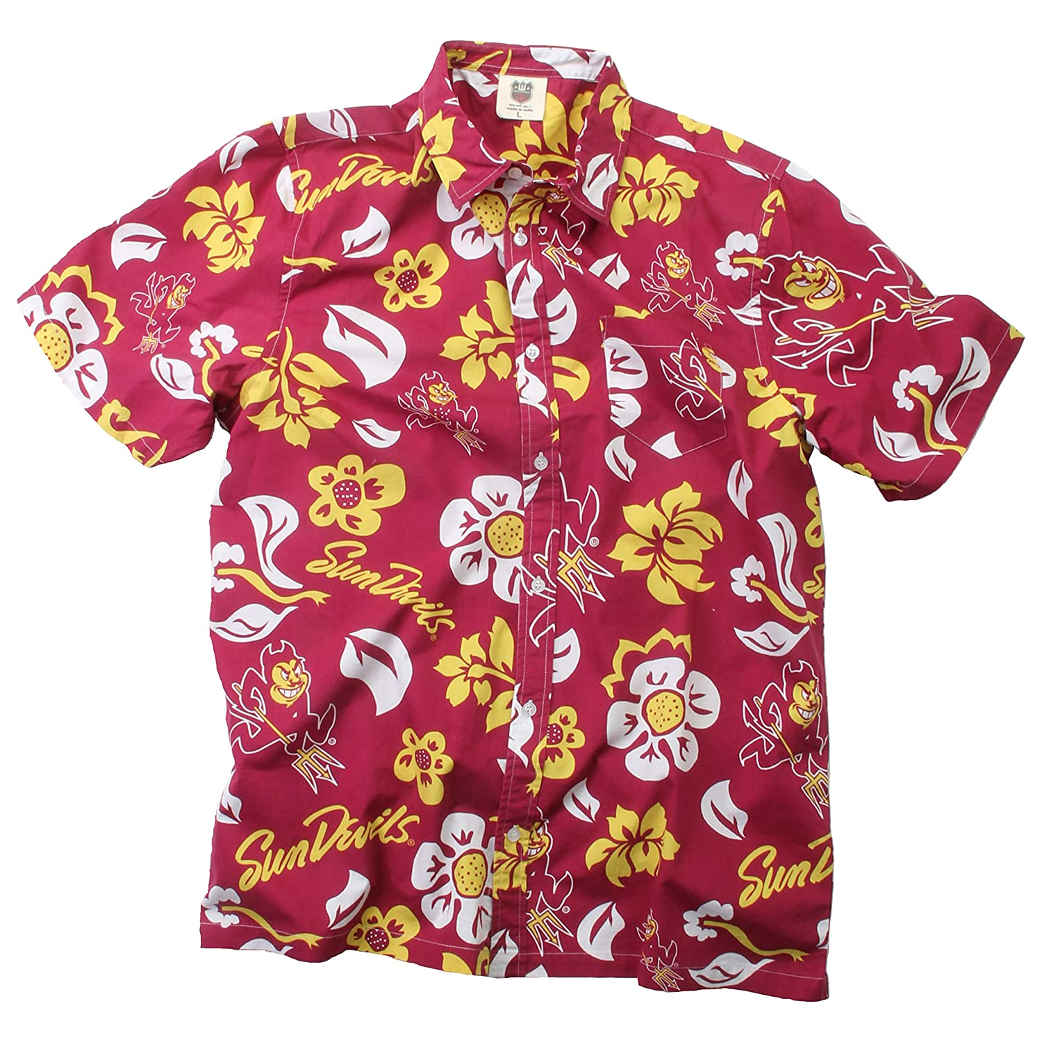 a1f2decd02c Amazon.com   Wes and Willy NCAA Mens Short Sleeve Button Up Floral Beach  Shirt   Sports   Outdoors