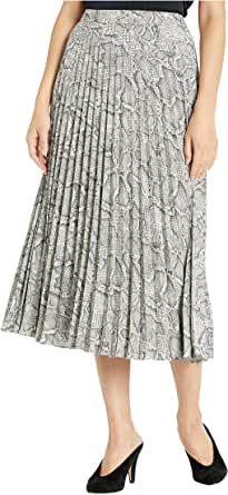 1.STATE Micro Pleated Snake Print Midi Skirt