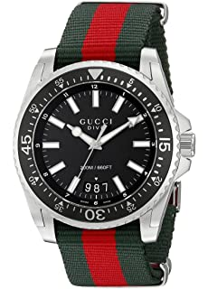 Gucci Dive Stainless Steel with Striped Nylon Band Mens Watch(Model:YA136206)