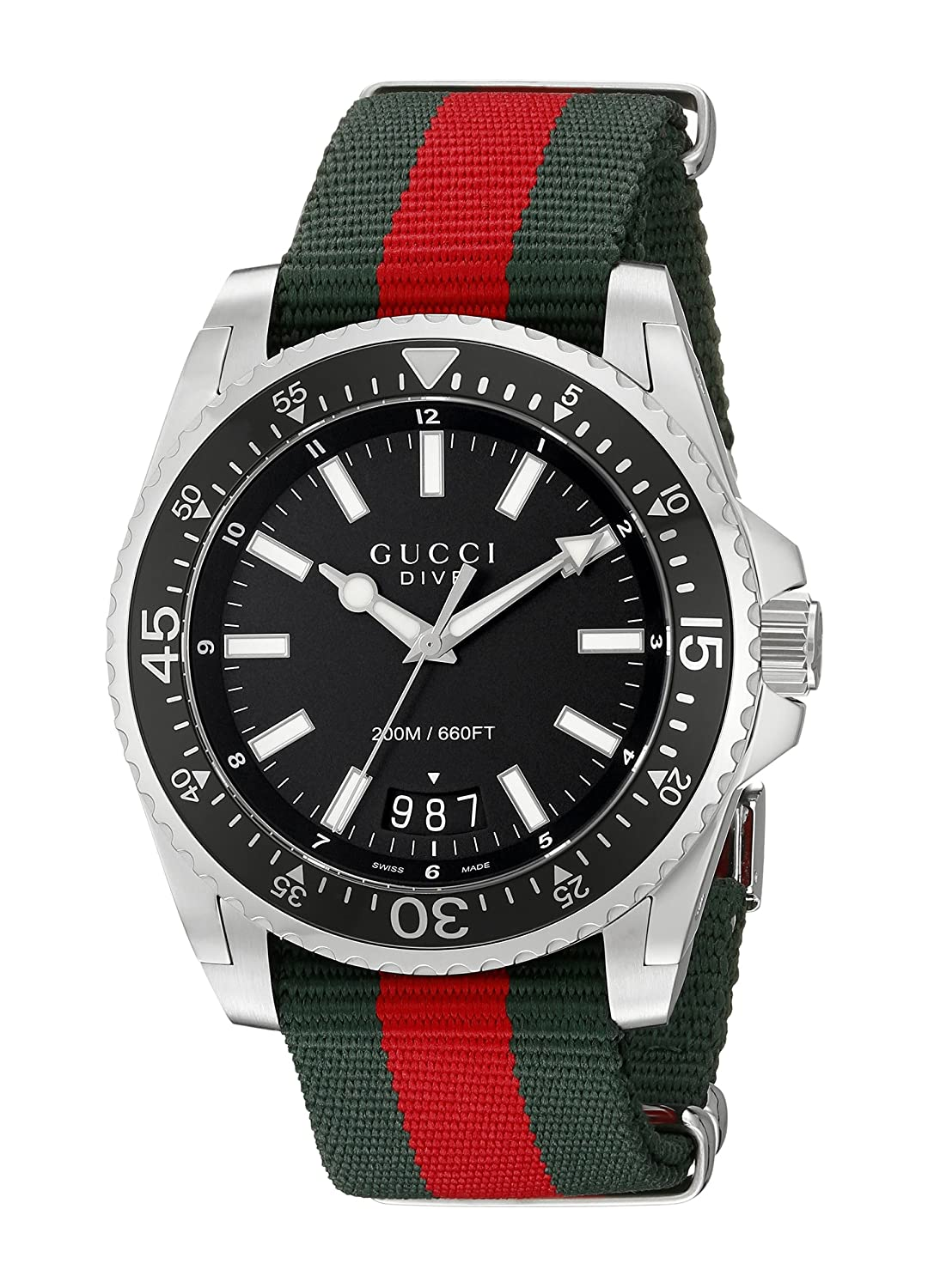 fad4d8de7be Amazon.com  Gucci Dive Stainless Steel with Striped Nylon Band Men s Watch(Model YA136206)   Watches