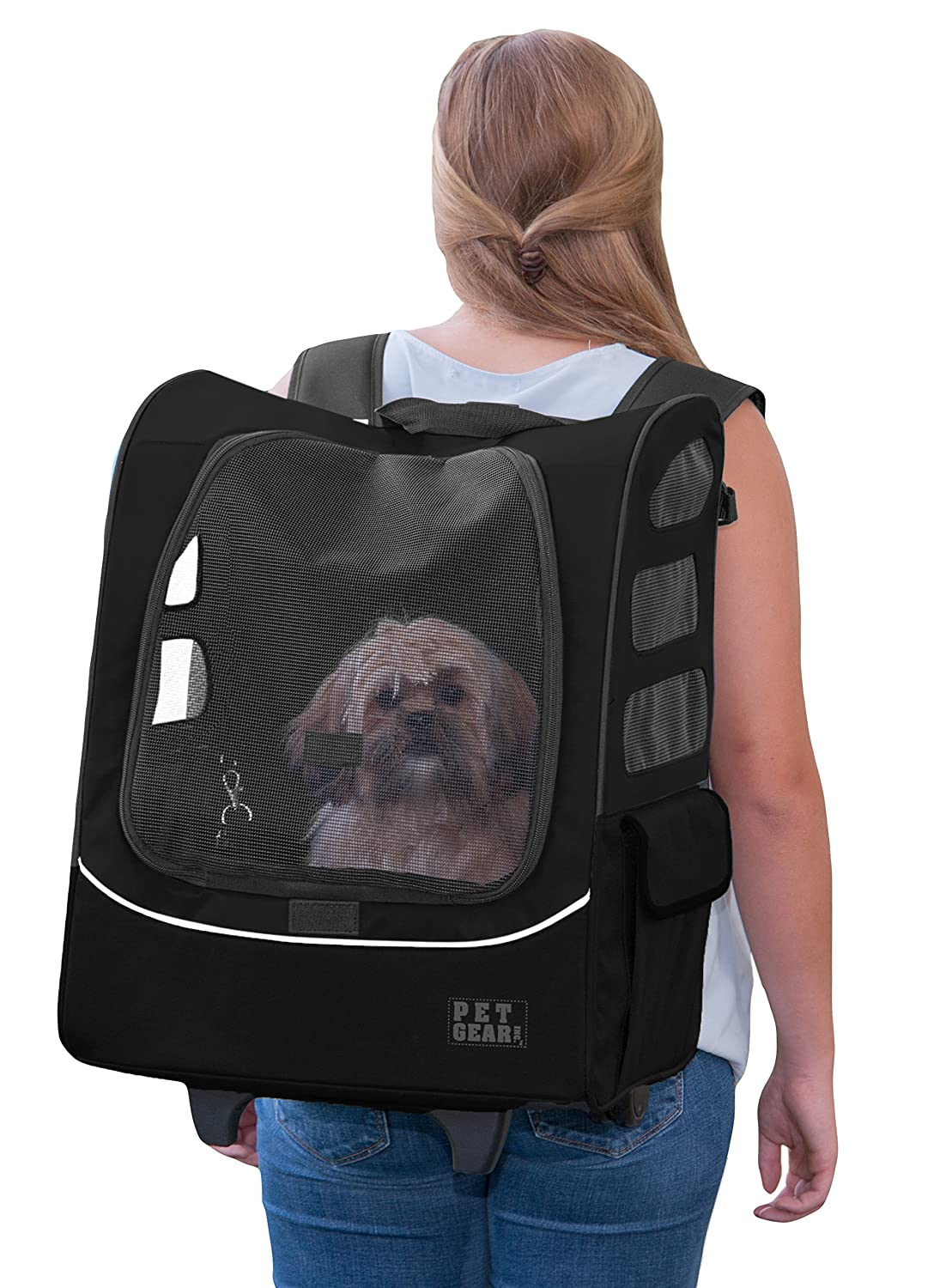 Pet Gear I-GO2 Roller Backpack, Travel Carrier, Car Seat for Cats Dogs, Mesh Ventilation, Included Tether, Telescoping Handle, Storage Pouch