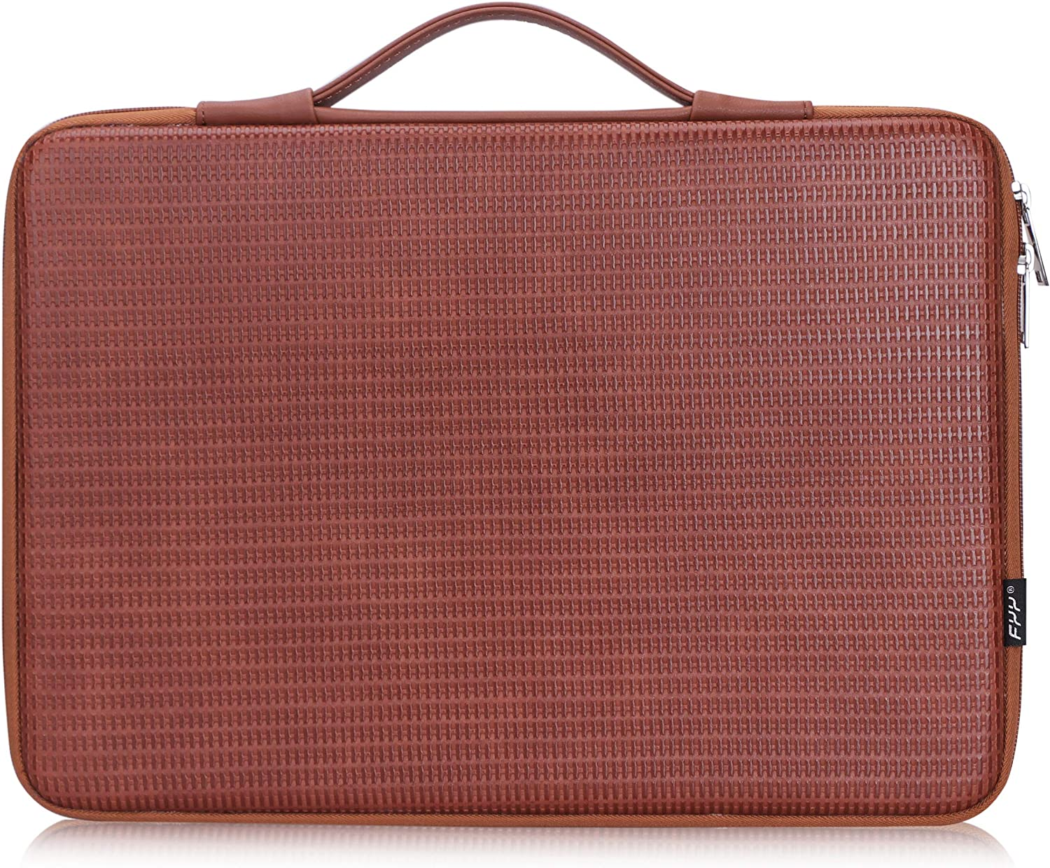 """FYY 13.5""""-15"""" [Waterproof Leather] [Solid Hard Shape] Laptop Sleeve Bag Case with Inner Tuck Net Fits All 13.5""""-15"""" Inches laptops, MacBook Pro, NoteBook, Surface Book Brown"""