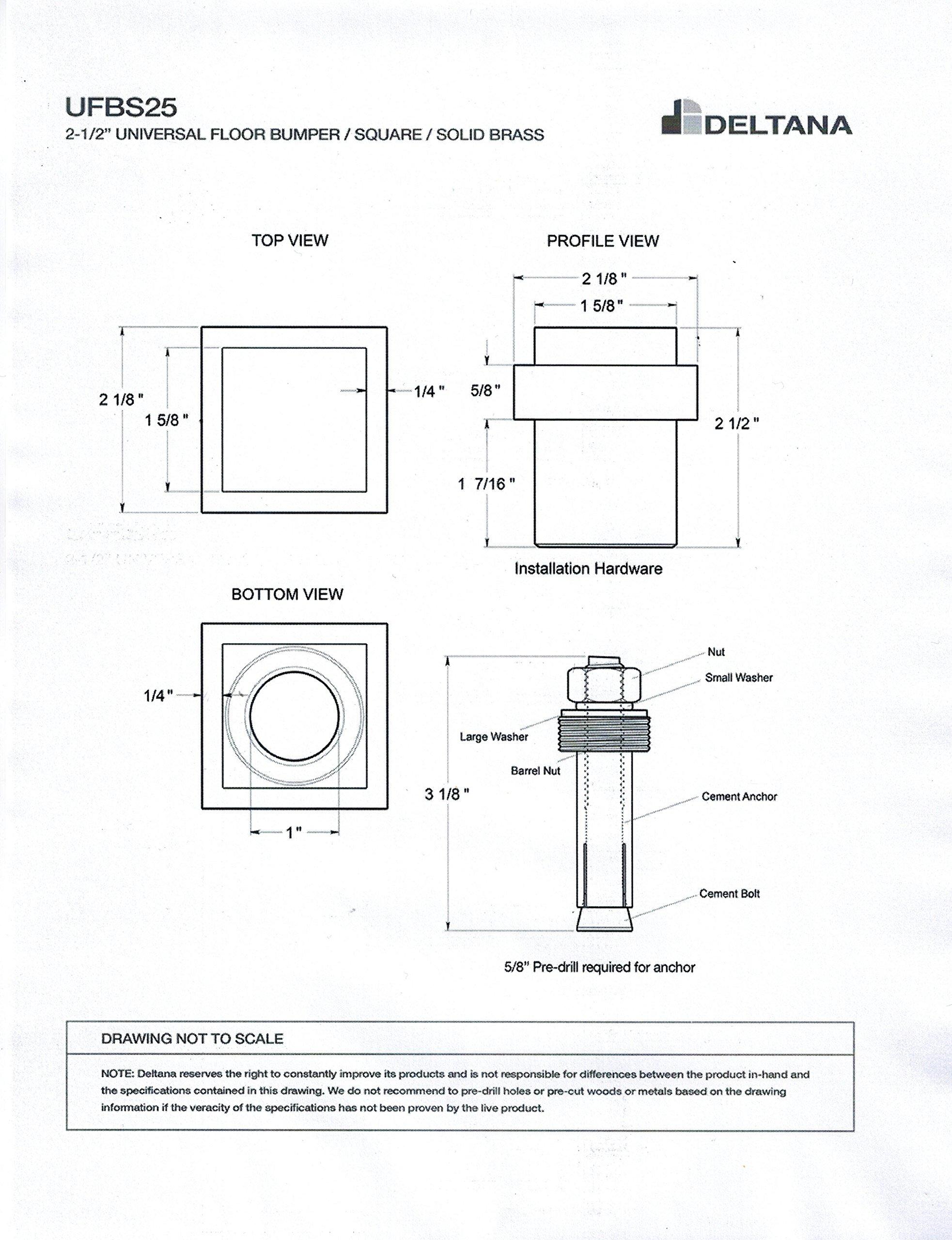 Deltana Square Universal Floor Bumper 2-1/2'', Solid Brass (Polished Nickel)