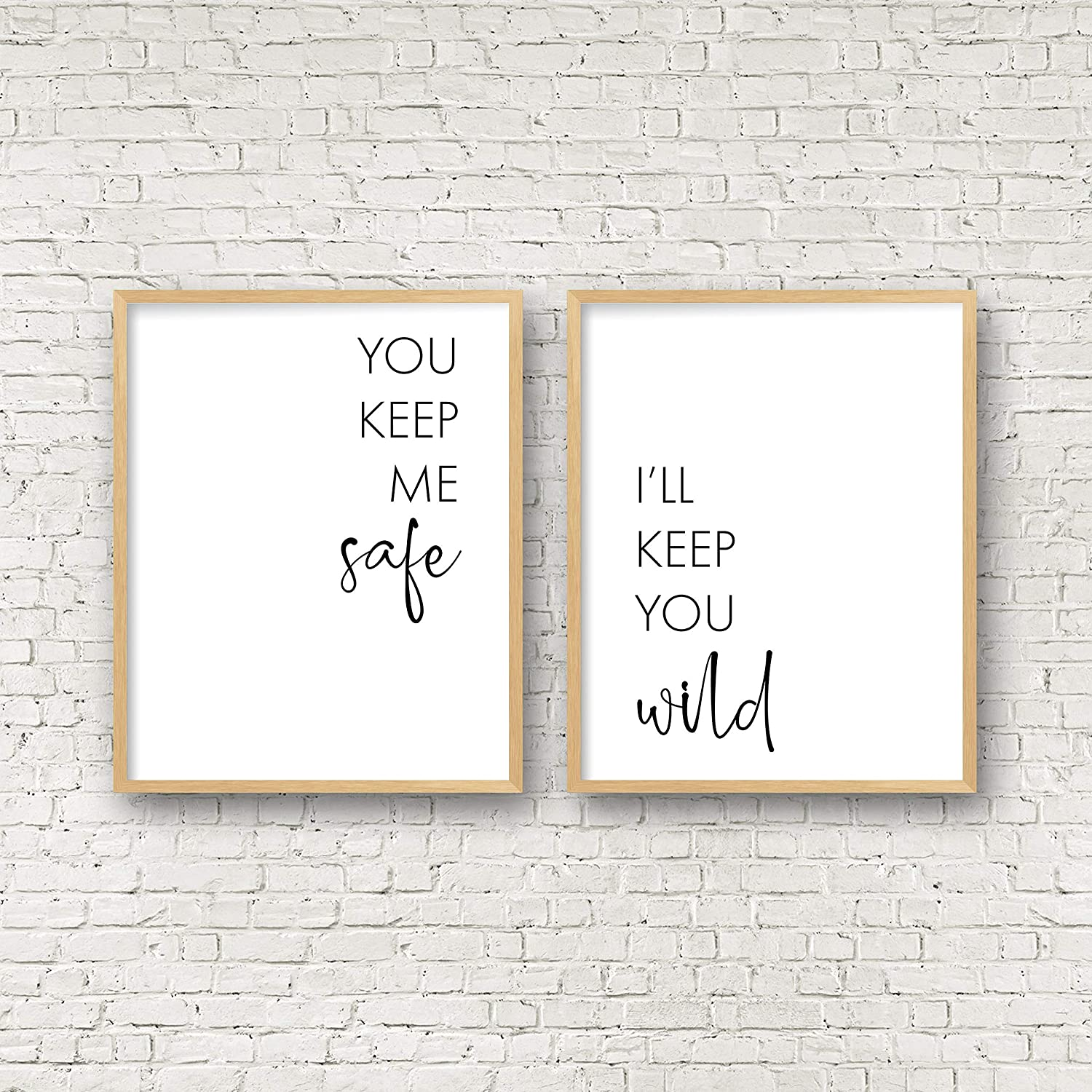Amazon Com You Keep Me Safe I Ll Keep You Wild Above Bed Wall Art Bedroom Quote Wall Art Valentines Day Decor Wedding Gift Couple Printable Wall Artset Of 2 Wood Pallet Design Sign