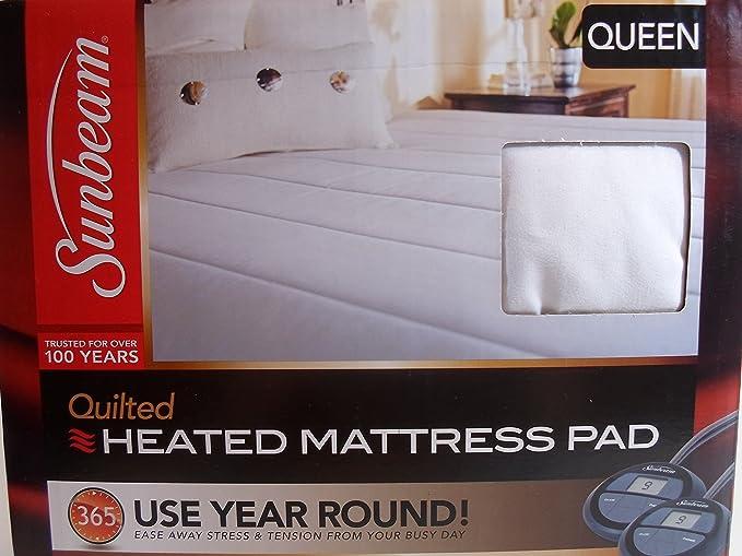 Sunbeam acolchado climatizada almohadilla de colchón, blanco, reina: Amazon.es: Hogar