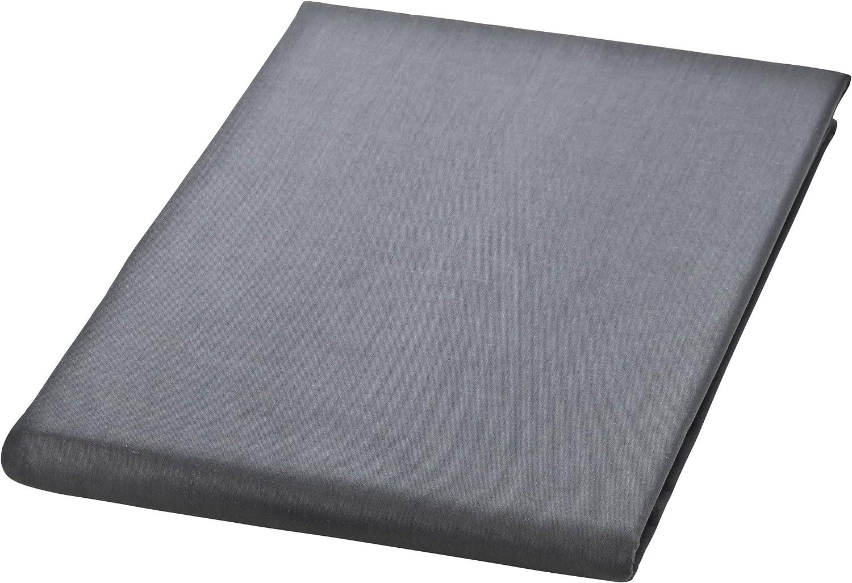 MOON Mako Satin Bettlaken Betttuch 150x250 100/% Baumwolle ohne Gummizug anthrazit