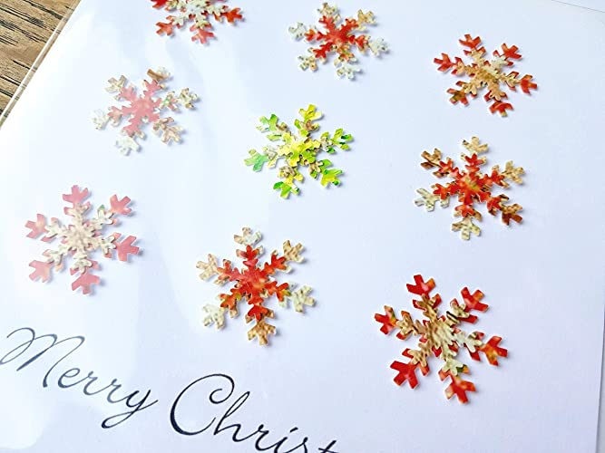 Handmade Christmas Card Images.Pack Of 4 Handmade Christmas Cards Luxury 3d Snowflakes In Red Blue Green Purple Xmas