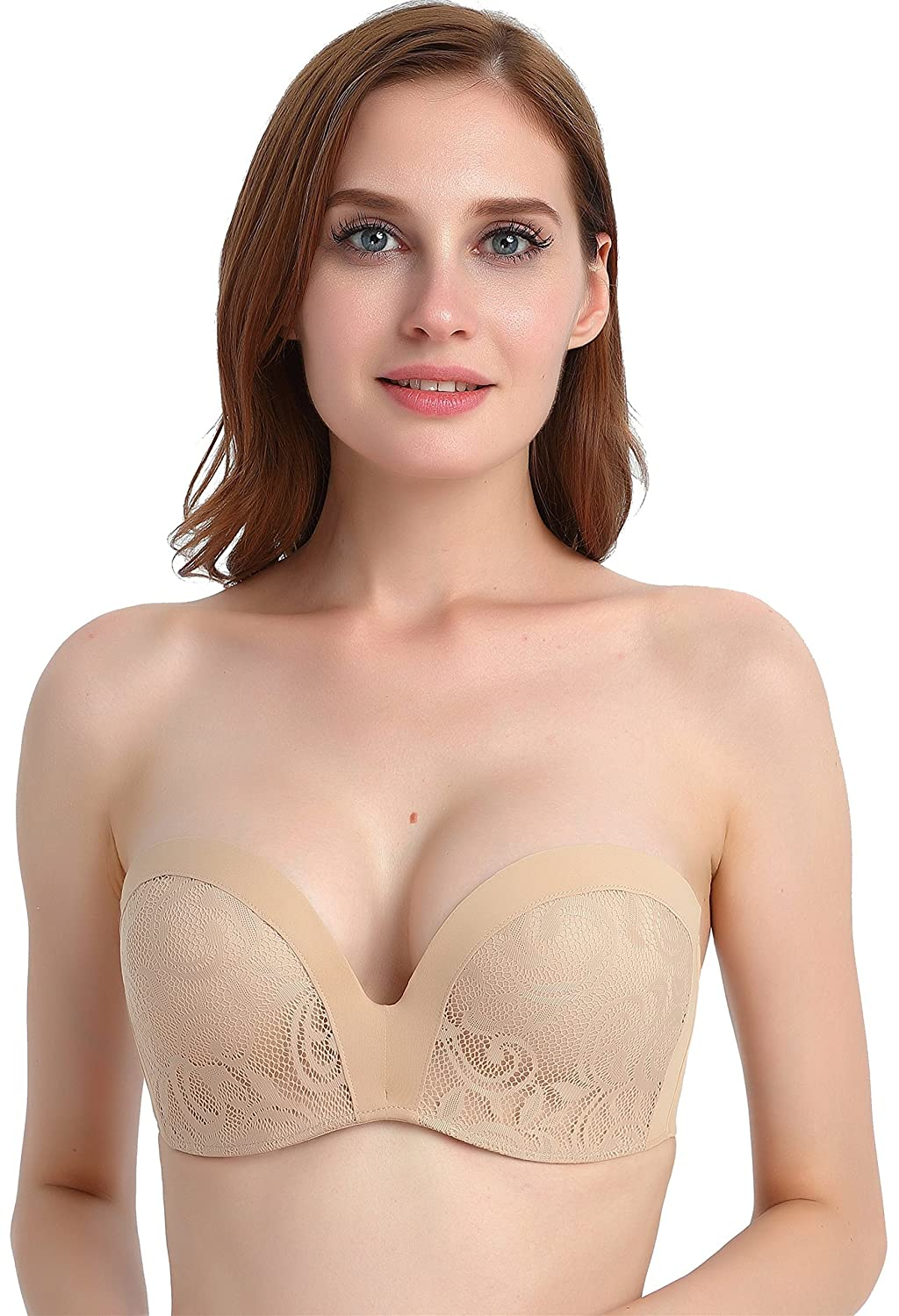 Chirrupy Chief Women's Wire Free Hand Shape Silicon Non-slip Strapless Lace Bra