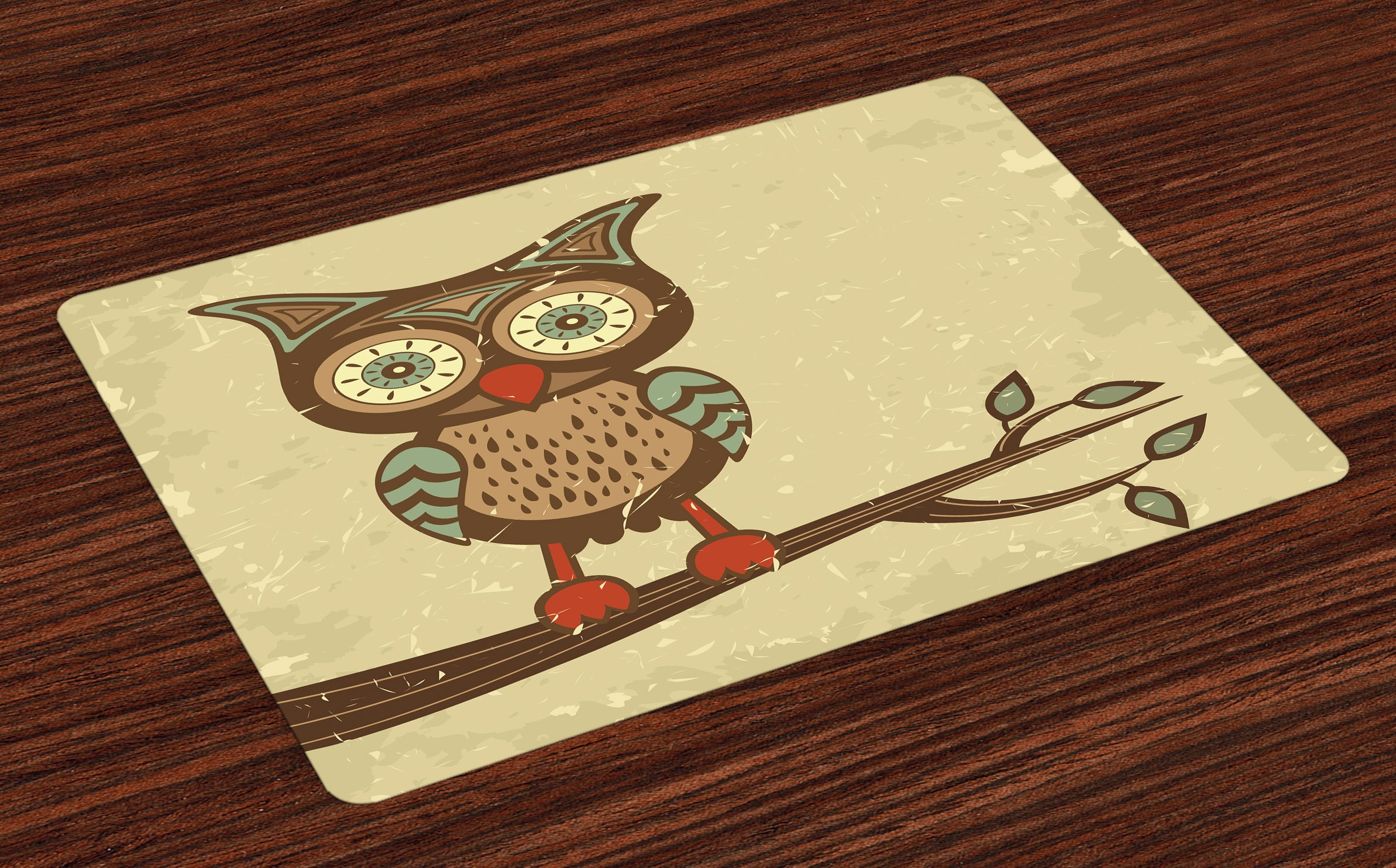 Ambesonne Owl Place Mats Set of 4, Cute Owl Sitting on Branch Eyesight Animal Humor Pastel Retro Modern Graphic, Washable Fabric Placemats for Dining Room Kitchen Table Decor, Brown Cream Red Teal