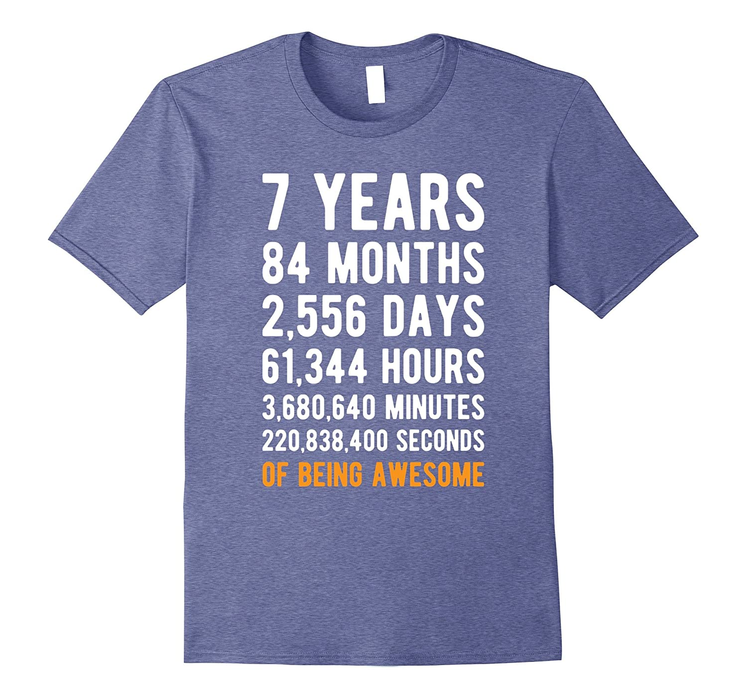 7th Birthday Gift T Shirt 7 Years Old Being Awesome Tee RT